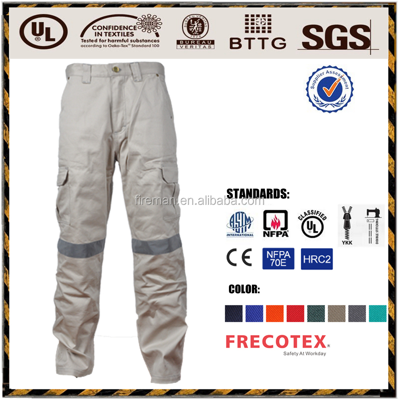 Industry workwear pants trousers manufacture EN11611 100% cotton low formaldehyde fire retardant firefighting suits