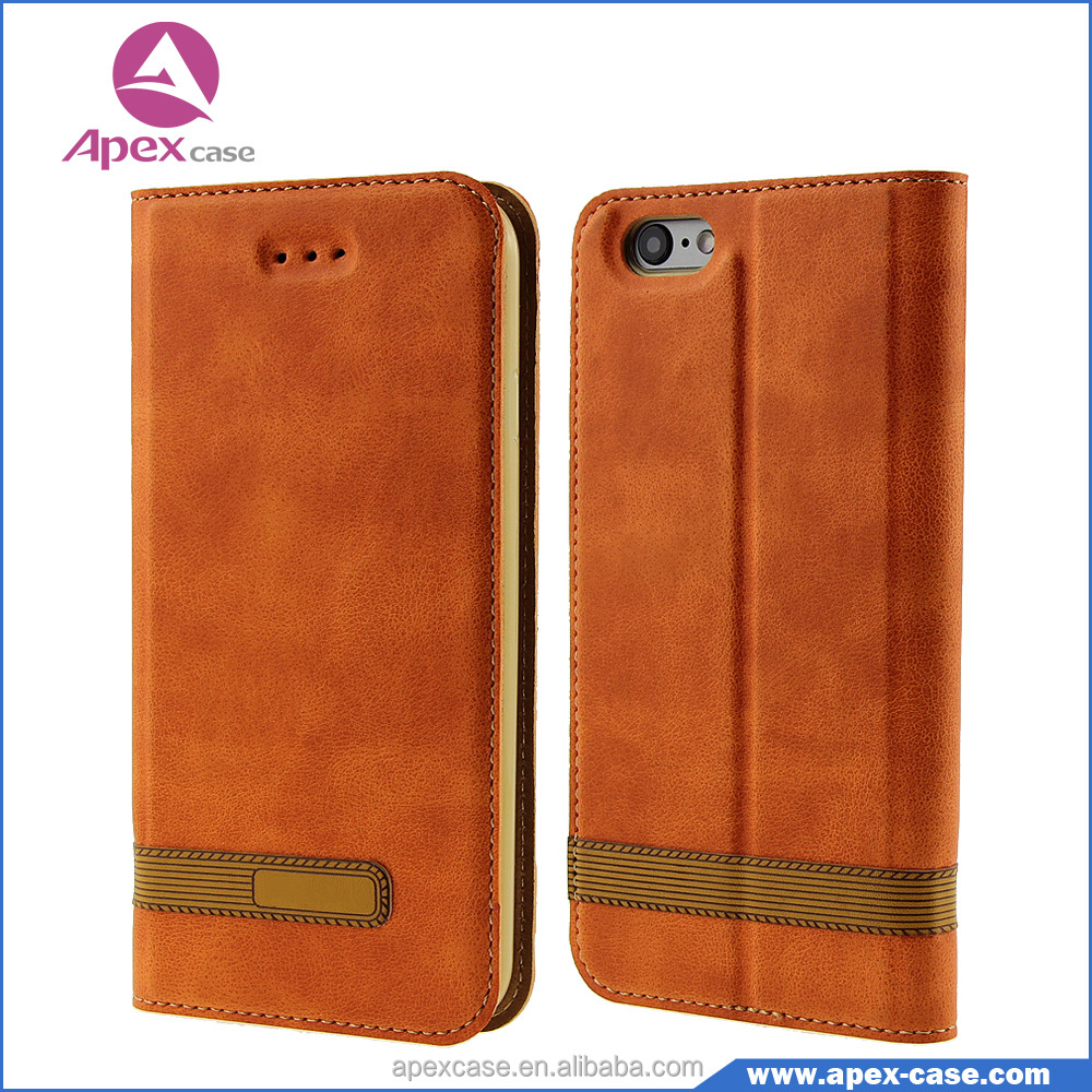 Flip Cover Case with Open Window for iphone 6 leather