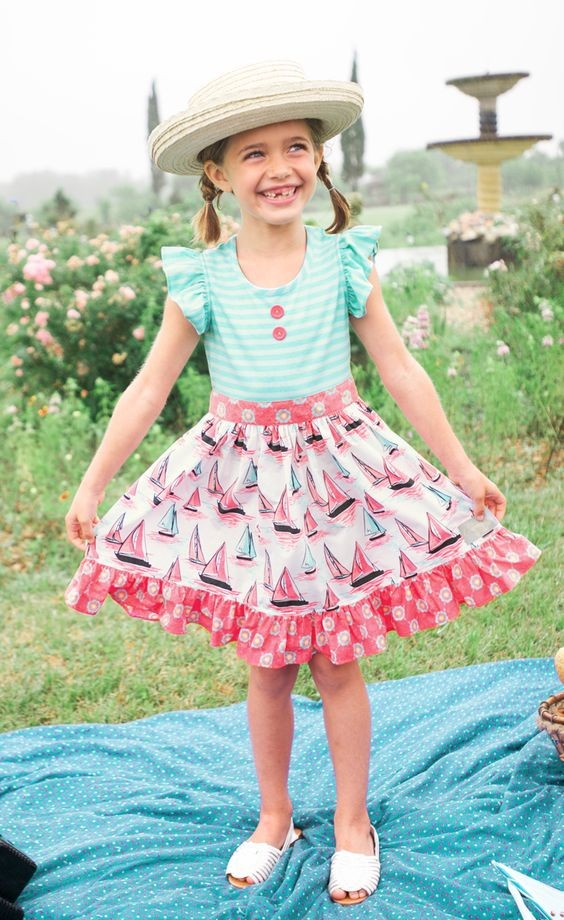Conice nini brand modern design floral printing girls ruffle dress frock design