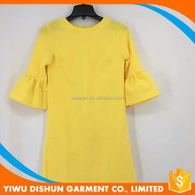 Ladies yellow summer casual dress with flare sleeves