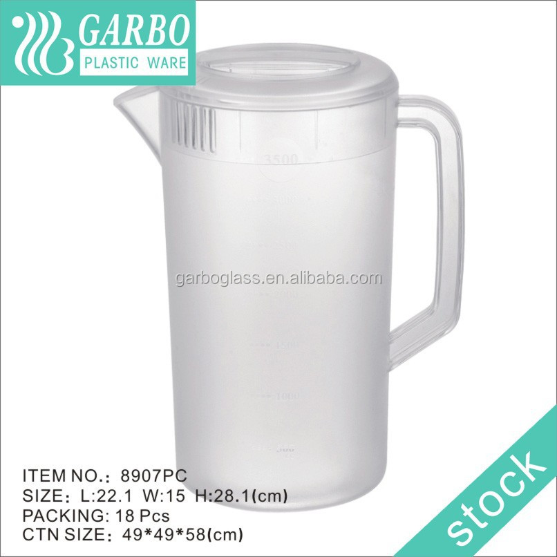 Reusable clear high quality plastic pitcher , PP water pitcher/Plastic water jugFrosted Design 1 Gallon Plastic Jugs for water