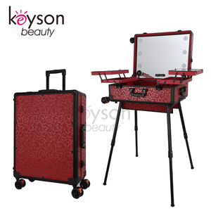 Keyson New Cosmetics Studio Togo Makeup Case with Lights Rolling Makeup Artist Train Case with Speakers - Red Flower