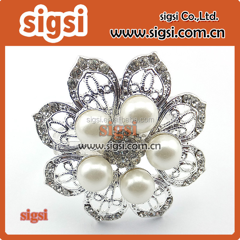 Clear Rhinestone Metal Pearl Embellishment Buttons flowers invitations favors bouquets napkin rings
