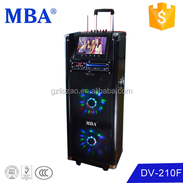 "New big dual 10 "" battery powered front panel plastic speaker box with light,bluetooth,amplifier"