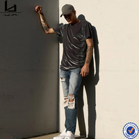 Cool stylish street fashion palin gray high quality velour fabric t-shirt bulk buy from china
