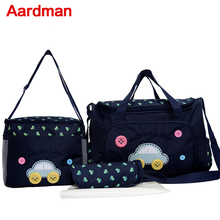 2016Hot sale lovely <strong>Fashion</strong> 4 pcs nappy mummy bag 600 D print maternity handbag diaper bags baby tote HY-005