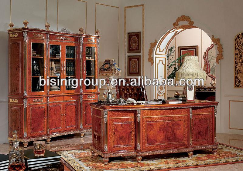 luxury office desk set;elegant design hand carved wooden office