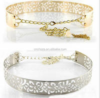 Z53254B Ladies fashion metal belt with flower punch-outs and metal chains
