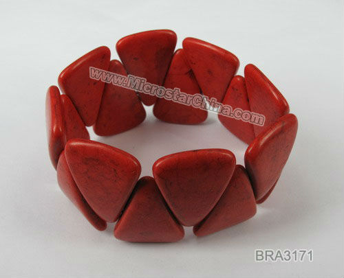 Red turquoise bracelet with dyed color for gift