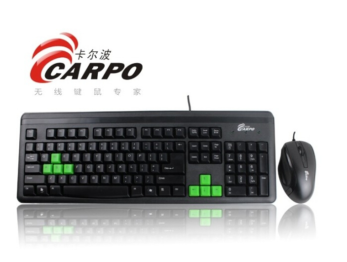F11007 CARPO T800 Wired Combo PS/2 Round Gaming Keyboard + USB Optical Mouse for Desktop Computer PC
