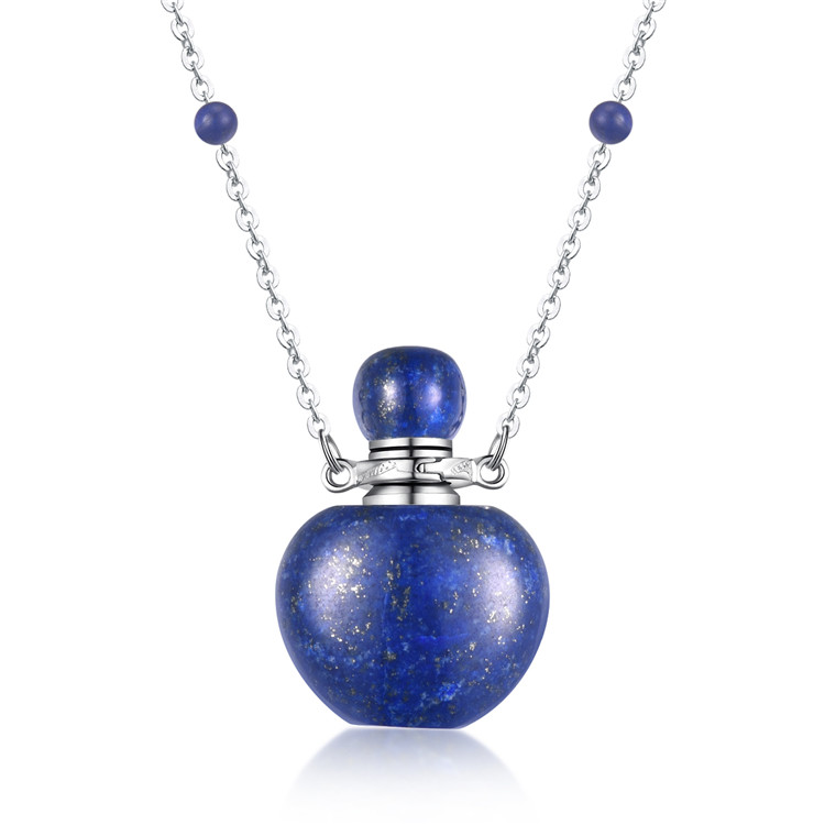 heart energy enhancement jewerly gemstone pendant lapis lazuli apple shaped perfume bottle
