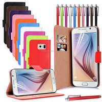 Colorful Real Genuine Wallet Folio book Leather Case For Samsung Galaxy S6 G9200 with free screen protector and stylus pen