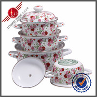 New product kitchenware 4pcs flower decal enamel cast iron cookware sets