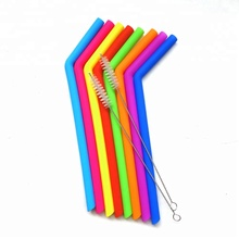 FDA Silicone Drinking Straws Reusable Stainless steel Straws, Silicone Straws with Cleaning Brush