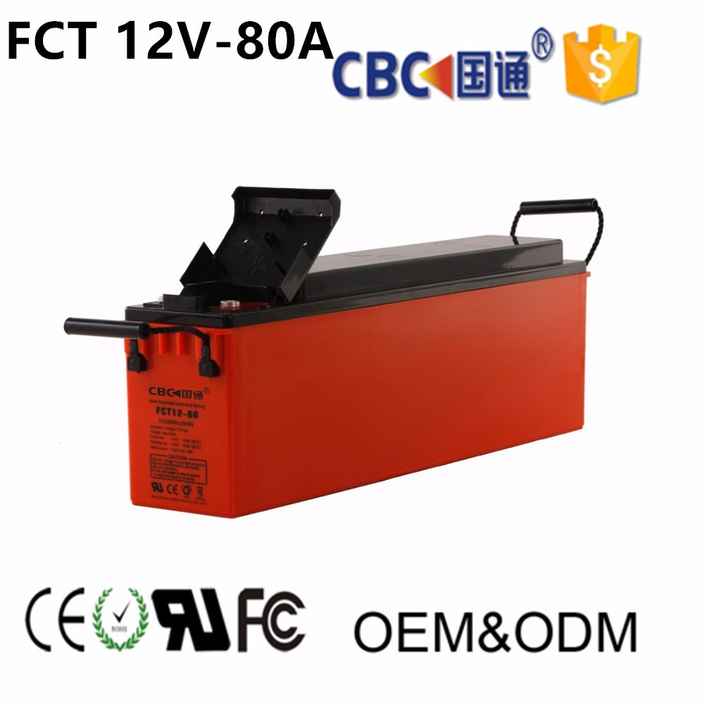 CBC Guotong 12V80AH Solar Front-access UPS Storage Rechargeable Battery For Solar System