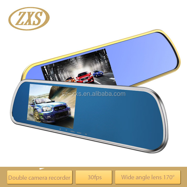 ZXS-F6 5 inch monitor with car rear view camera, car dvr rearview mirror car rear view reversing camera system