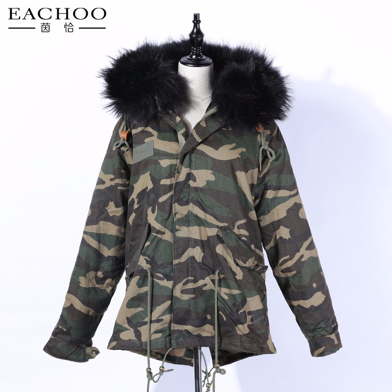 EACHOO newest real fox fur parka for women brand military winter parka Fur Lined Parka
