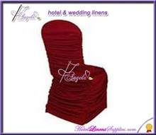 burgundy ruffled chair covers, burgundy pleated chair covers for banquet chair decorations