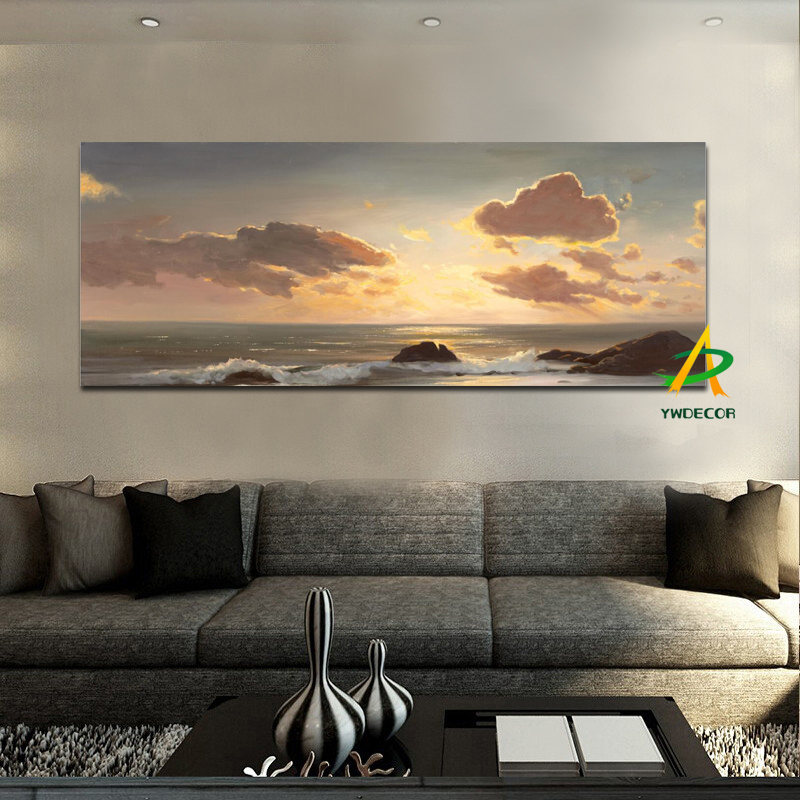 Cheapest price Sunset on the sea Canvas painting Seascape Printed Painting on canvas No frame Pictures Decor For Living Room
