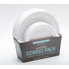 40pcs Round Dinner <strong>Plates</strong> With Silver Rim Combo Pack Heavyweight 10&quot; and 7.5&quot; asst