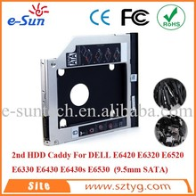 ODM OEM CE FCC RoHS SATA E6420 Second HDD Caddy For DELL E6420 E6520 E6330 E6530, 9.5mm Ultrathin