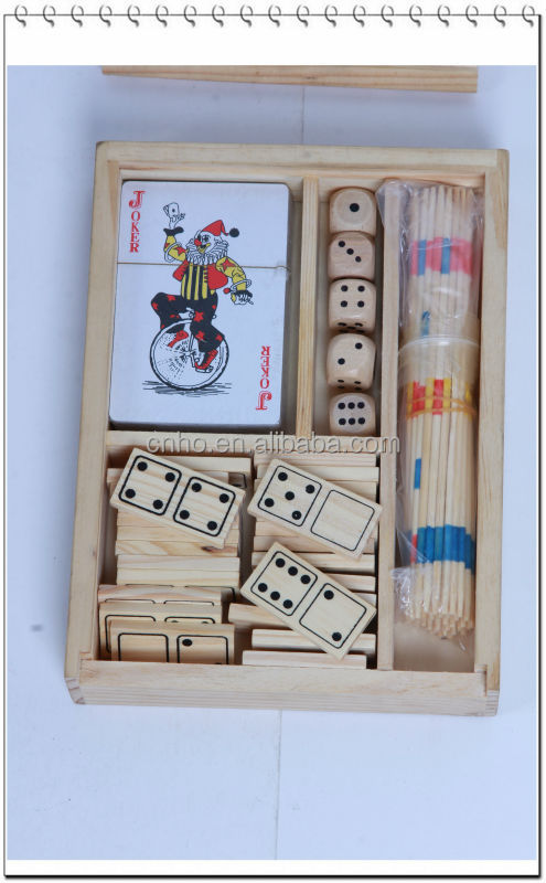 interesting adult stick board custom playing cards dice 4 in 1 wooden game