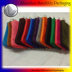 OEM colorful velvet zipper pouch for phone packaging