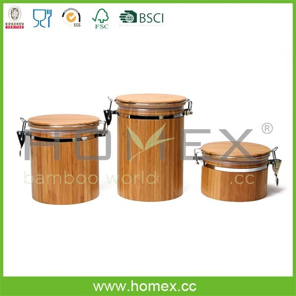 Bamboo Canister Set/Kitchen Storage Container Jar/Homex_FSC/BSCI Factory