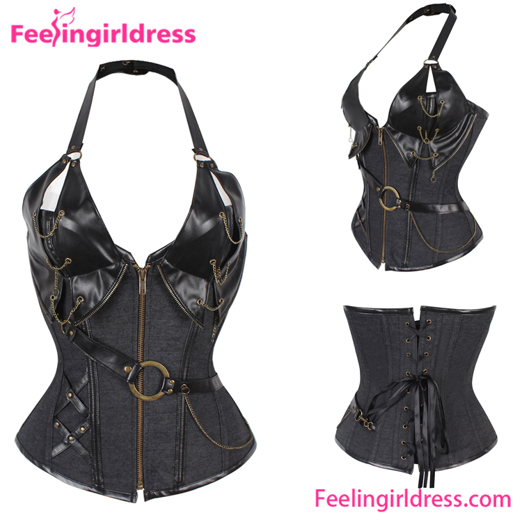 Wholesale chain black leather overbust steel boned waist training corset top