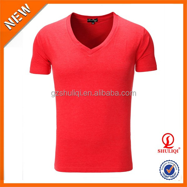 Good-looking fast dry fit V-Neck 95% organic cotton 5% spandex t shirt men