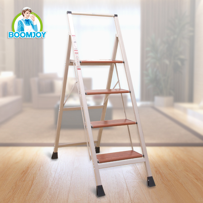 Home usage 4 steps ladder handrail thicken folding wood ladder