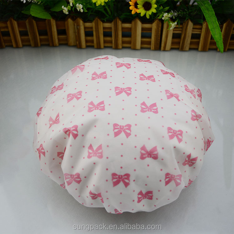 Beautiful Design Pink Bowknots PVC Shower Caps for Women Waterproof Bathroom Caps with Single Layered
