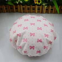 Beautiful Pink Bowknots PVC Shower Caps for Women Waterproof Bath Caps with Single Layered