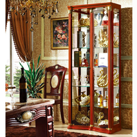 Made in China Cheap Living Room Antique Wooden Glass Display Cabinet with glass mirror back