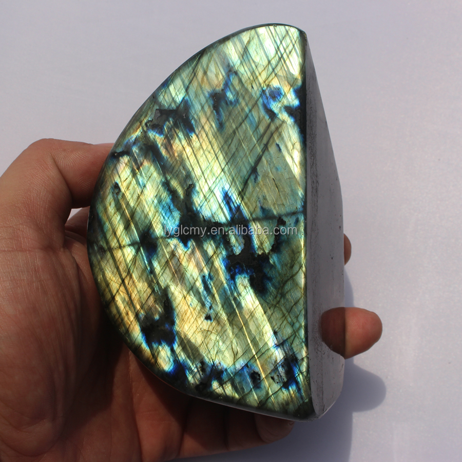 Natural Labradorite Stone Polished Cheap Blue Flashy Palm Stone