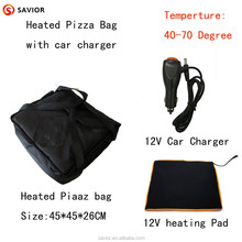 12V heated pizza bag with car charger and travel charger heating temperature 70 degree