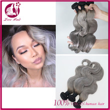 Gray Brazilian Virgin Hair Body Wave Hair Weave 3pcs/lot Ombre Silver Grey Hair 1b/gray two tone Ombre Hair Extensions