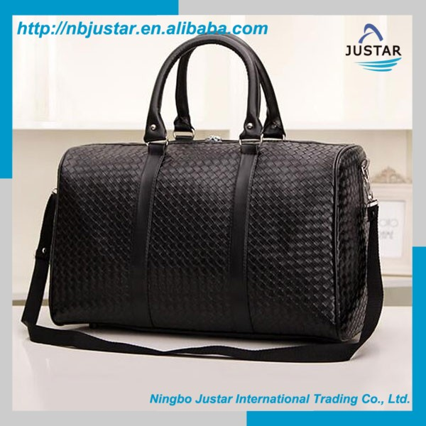 New Design Large Capacity PU Weave Leather Holdall Luggage Travel Bag