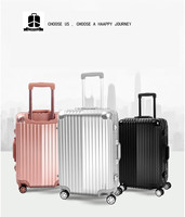 Hard shell luggage travel business trolley case spinner wheels aluminum luggage suitcase
