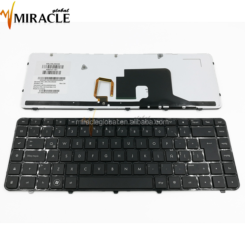 Hot selling LA layout black laptop keyboard for hp dv6-3000 with backlit