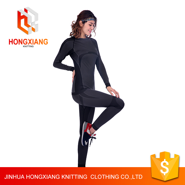 Hongxiang men and women sport wear suit ,Body sculpting Yoga jogging suits,cheaper and OEM factory produce 100%polyester