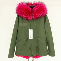 Hot pink fur parka 2016 luxury real fox fur girls jackets factory direct sale
