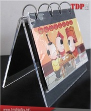 clear acrylic desktop calendar stand with ring