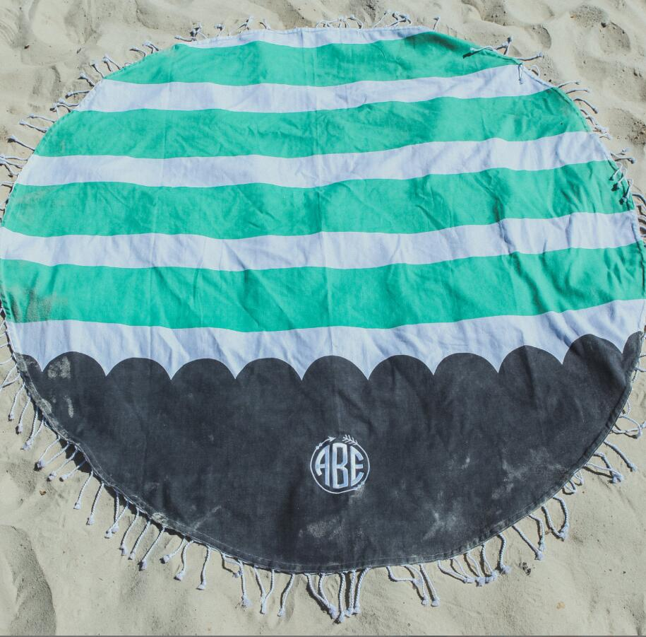 DEMI Wholesale monogram stripe Tassels Beach <strong>Towel</strong> round