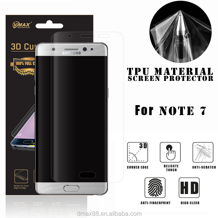 Wholesale HD Clear 100% Prefect Fit TPU screen protector for Sumsung Galaxy NOTE 7