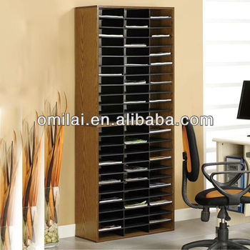 Brown standing wooden document organizer