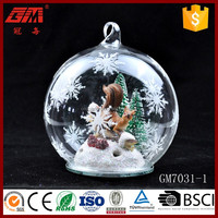 120mm christmas glass ball with resin figures inside