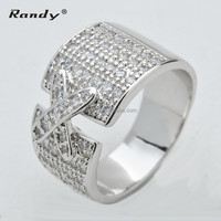 Fashion Cross Ring,Cubic Zirconia Stone, Rhodium Plated Ring