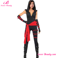Halloween day cospaly v neck sexy woman black ninja costume