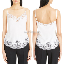 wholesale lace extender 100% cotton blend layering lace trim camisole with extra long sheer bottom tank top lace extender
